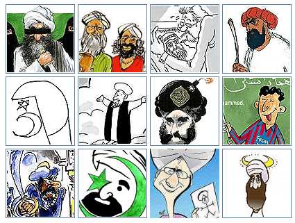 Cropped images of all 12 mohammed cartoons